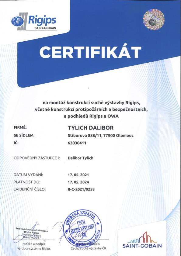 Certifikát na montáž kostrukcí